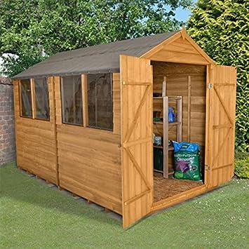 Caseta cobertizo de jardín de madera de 10 x 8 de almacenamiento Doble Puerta Tejado 10
