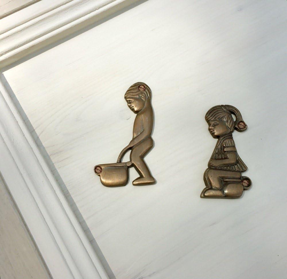 Messing Antik Style WC Tür Schild Türschild Toilette Toilettenschild Woman-1P