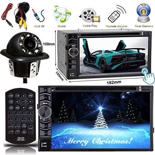 Double Din 2DIN Car Stereo 6.2 Inch Touch Screen Bluetooth AUX DVD MP3 CD + Rear View Camera Reverse Parking Assist Cam Waterproof, 2 Year Warranty