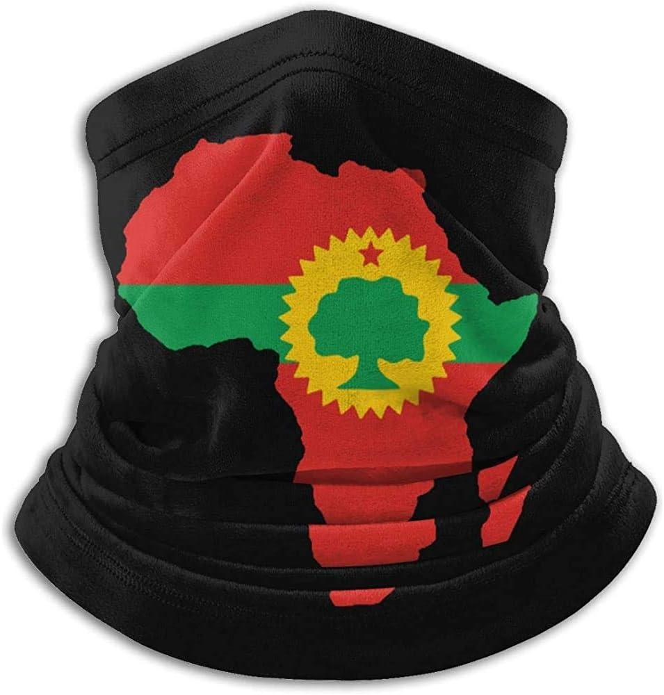 Randy-Shop Oromo Flagge auf der Karte von Afrika Unisex Fleece Neck Warmer Neck Gaiter Cover Face Cover
