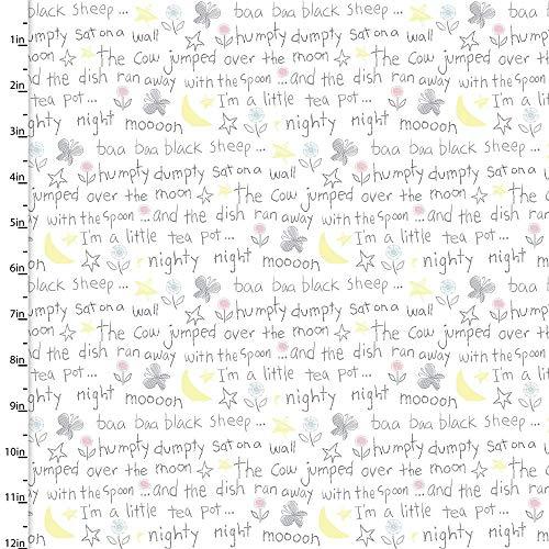 Flannel Playful Cuties II Nursery Rhyme Words White - Fabrics Nursery