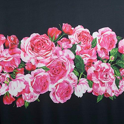 Generic Printed Pink Rose Pattern Faux Silk Satin Black Heavy Chiffon Fabric For Dress 57.48