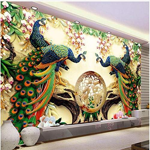 壁飾り壁画- 中国風クラシックピーコックグリーンブランチ3D自然壁紙リビングルームの背景の壁の家の装飾-250X175Cm