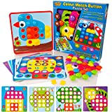 Learning Minds Colour Match Button Art Puzzle Set - Educational Mosaic Picture Pegboard Toy
