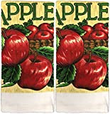 2 Pack 100% Cotton Everyday Basic Printed Terry Kitchen Towels Size : 18'' x 28''. (Apple)