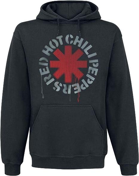 Homme Noir Noir Sweat-Shirt /à Capuche Red Hot Chili Peppers