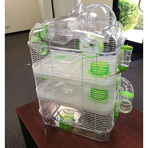 New Clear Transparent 3 Floor Levels Habitat Hamster Rodent Gerbil Mouse Mice Cage (Green) by Mcage (Image #2)