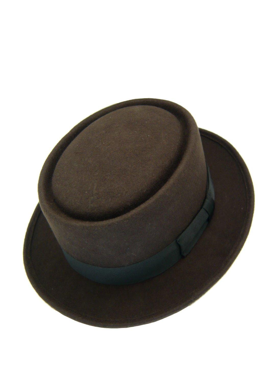 HATsanity Unisex Vintage Wool Felt Pork Pie Hat WL03BK