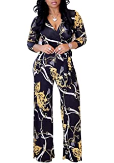 3e3950b3d103 FOUNDO Women s V Neck Short Sleeve Tropical Floral Bodycon Jumpsuit Romper  Pants