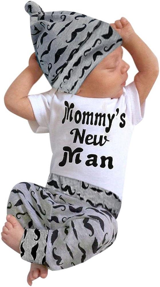 Long Pants Hat Outfits Clothes Mustache Hat Three-Piece Suit Cute Newborn Baby Boy Romper Tops Black, 3-6Months Xinantime Baby Jumpsuit 3PCS Set for 0-18 Months,Big Sales