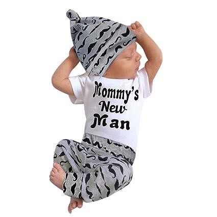 d0d55b756280 DDLmax 3 Pcs Set Toddler Kid Baby Boy Outfits Clothes Printed Mustache  Quotes quot