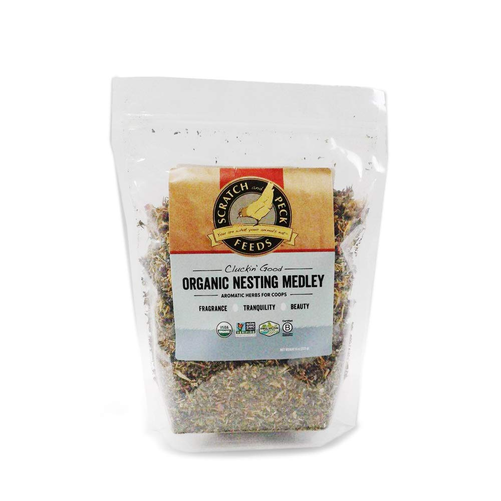Scratch and Peck Feeds - Organic Nesting Medley - 8-Ounce - Aromatic Nesting Herbs for Coops by SCRATCH AND PECK FEEDS YOU ARE WHAT YOUR ANIMALS EAT