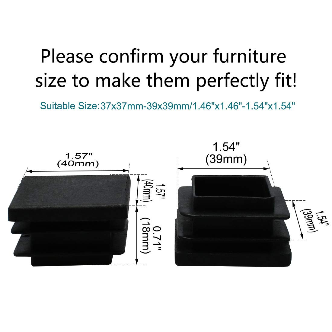 Furniture Chair Table Feet Floor Protector uxcell 150pcs 25 x 25mm Plastic Square Ribbed Tube Inserts End Cover Cap for 0.87 to 0.94 Inner Size