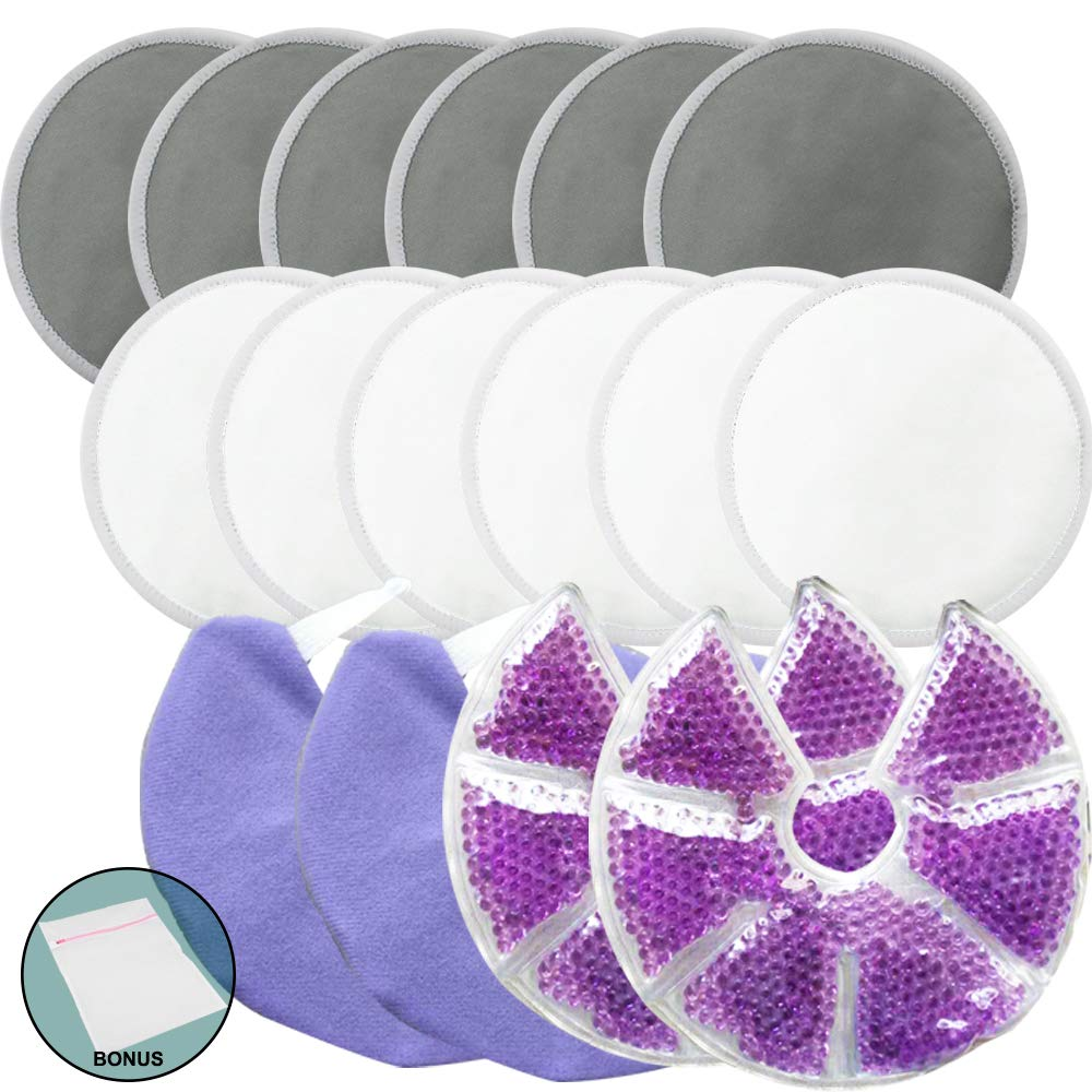 Jalousie Reusable Bamboo Fiber Nursing Pads and Breast Therapy Gel Pads Bundle with Bonus Laundry Bag - Include 12 Bamboo Nursing Pads and 2 Gel Pads with Cover Bonus Laundry Bag