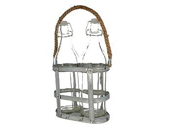 No definido - Botellas de Vidrio con portabotellas Vintage Coconut: Amazon.es: Hogar