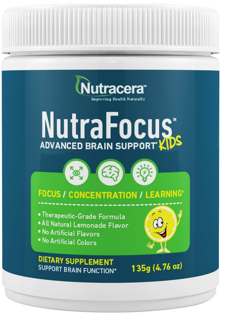 New!! NutraFocus - All Natural Advanced Brain Support for Kids. Supports Focus, Attention, Mood and Learning. Great Tasting Powder Supplement,Qty 30 Scoops