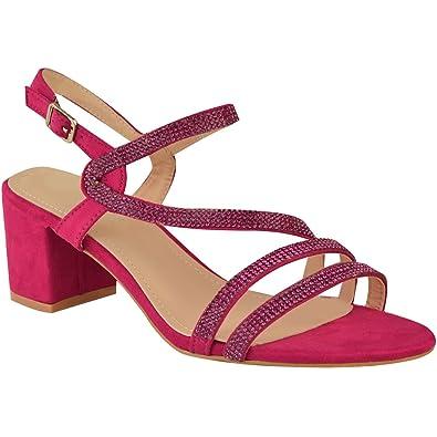 Fashion Thirsty Damen Sandalen mit Flachem Blockabsatz   Schmuckstein Details