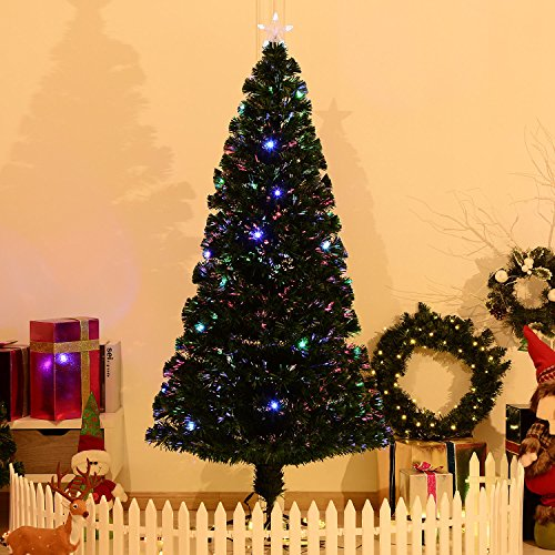 7' Artificial Holiday Fiber Optic / LED Light Up Christmas Tree w/ 8 Light Settings and Stand by HOMCOM (Image #2)