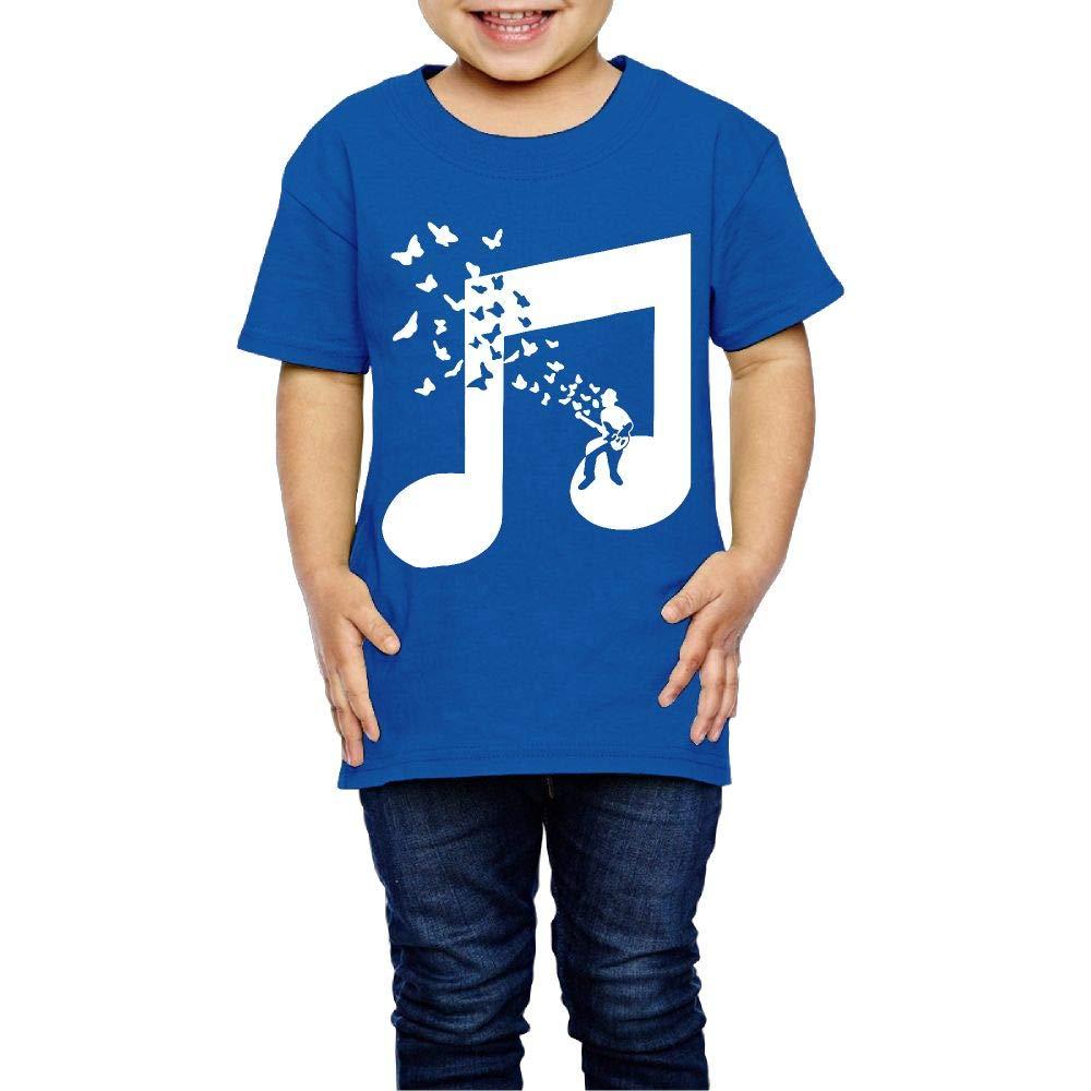 I Play Bass Guitar Music Note Butterflies Musician 2-6 Years Old Kids Short-Sleeved T Shirt