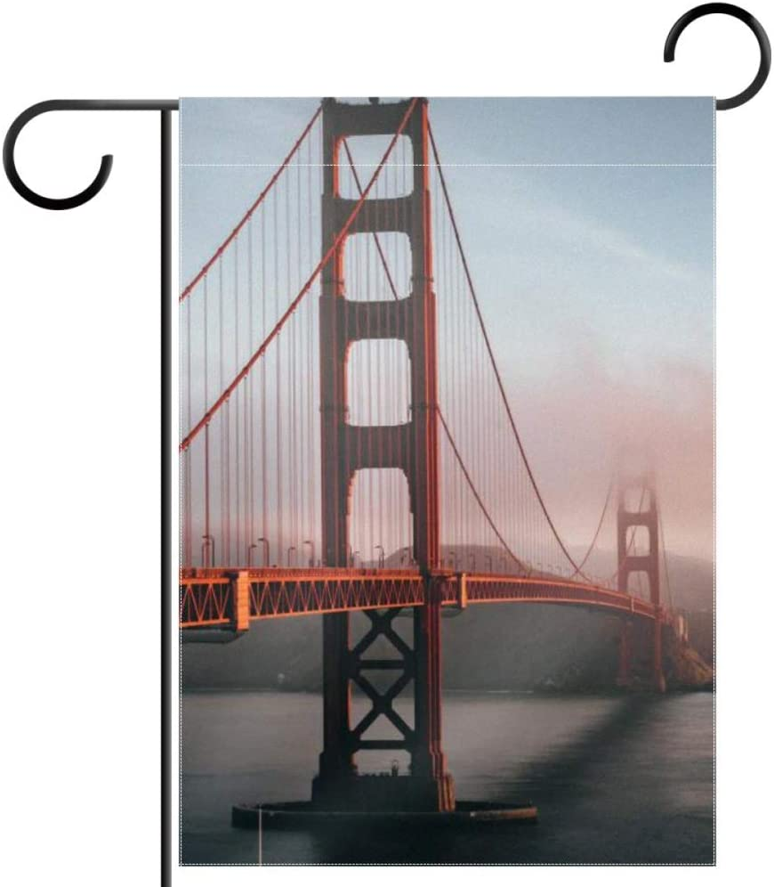 NOAON Outdoor Decoration Without Stand Double Sided Gift Architecture Bridge Fog Garden Flag 28x40 Inch Yard