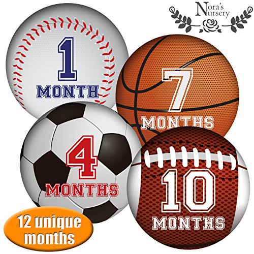 Sports Baby Monthly Stickers - Great Shower Gift or Photo Keepsake for Scrapbook (Superhero Outfit Ideas)
