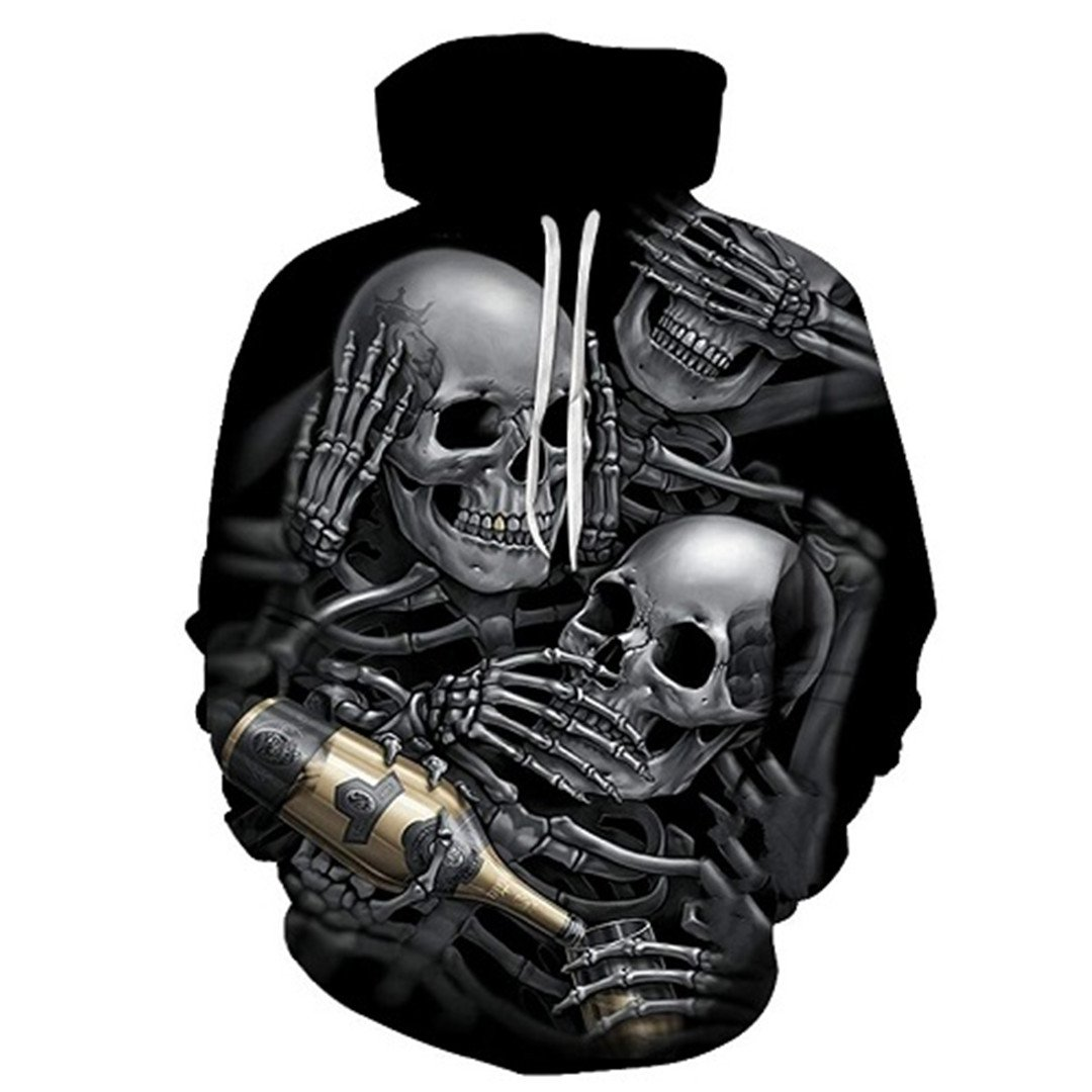 PHOTOE Mens//Womens 3D Hoodies Skull Champagne Printed Hooded Sweater Thin Section
