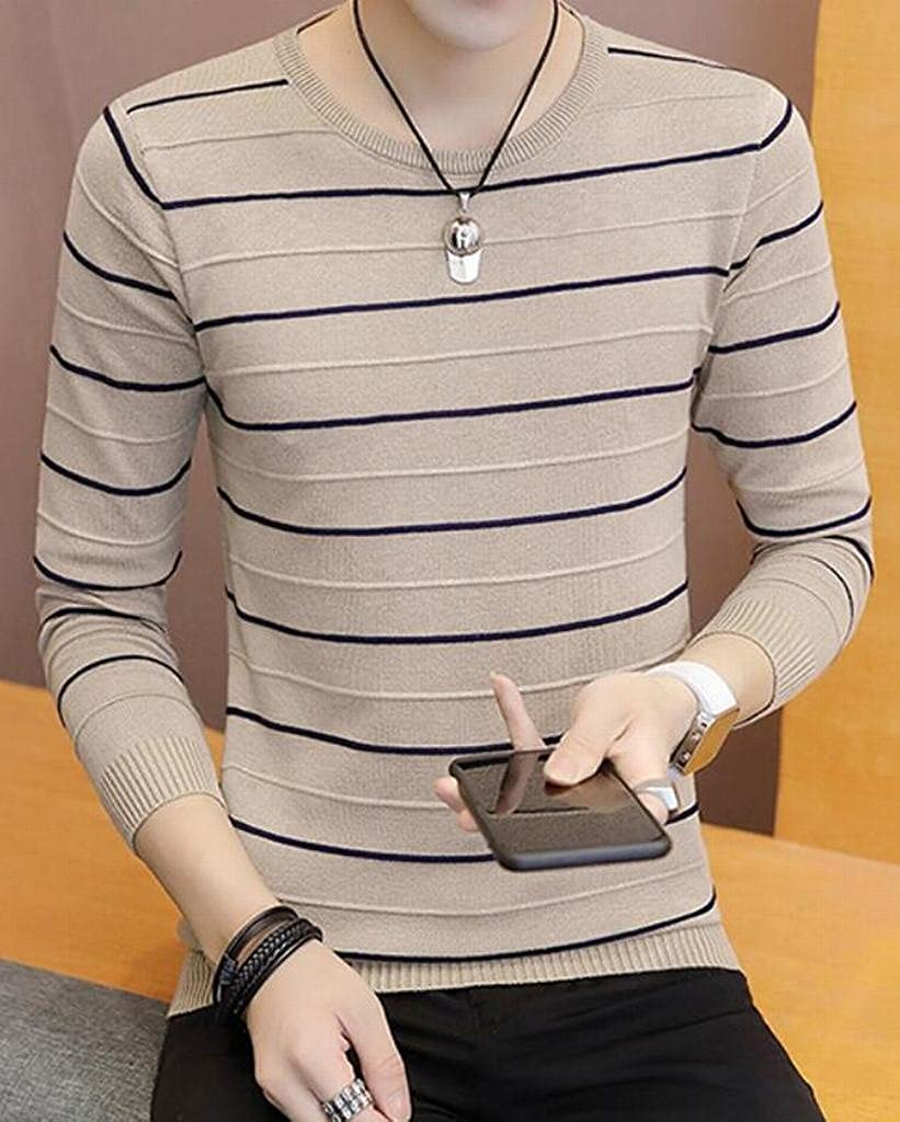 Mstyle Mens Stripe Slim Fit Splicing Crew Neck Fashion Long Sleeve Pullover Sweaters Khaki S