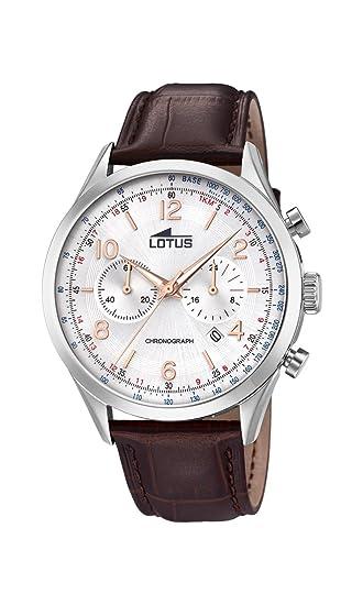 Lotus Watches Reloj Cronógrafo para Hombre de Cuarzo con Correa en Cuero 18557/1: Amazon.es: Relojes