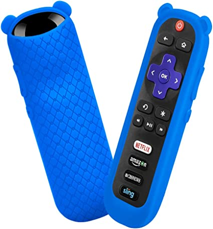 Protective Case for TCL Roku TV RC280 Remote Cute Cat Ear Shape Anti Slip Universal Replacement Sleeve Glow Blue Silicone Cover Shock Proof Remote Controller Skin