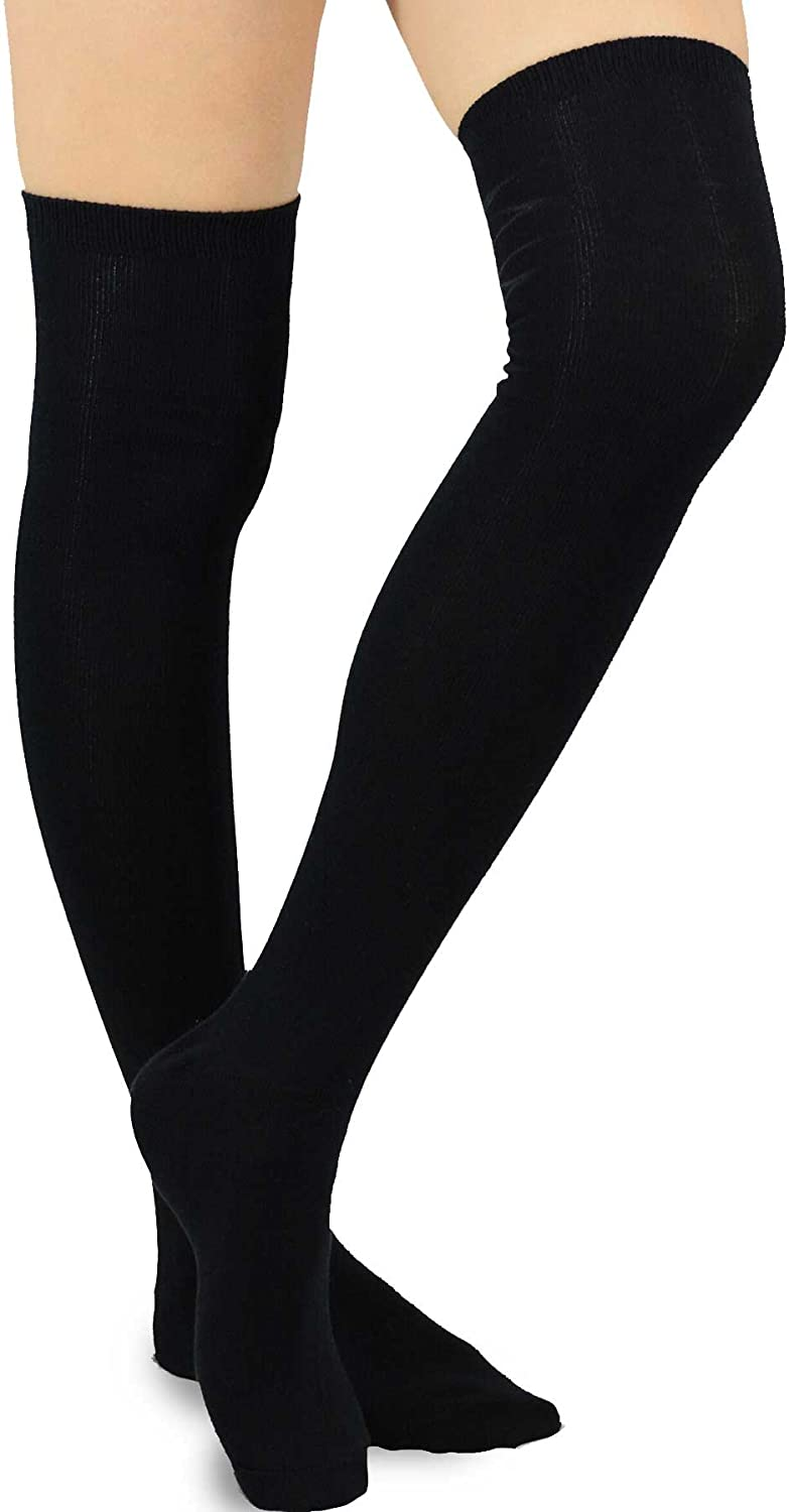 Teehee Womens Fashion Cotton Over The Knee Socks 2 Pairs Pack