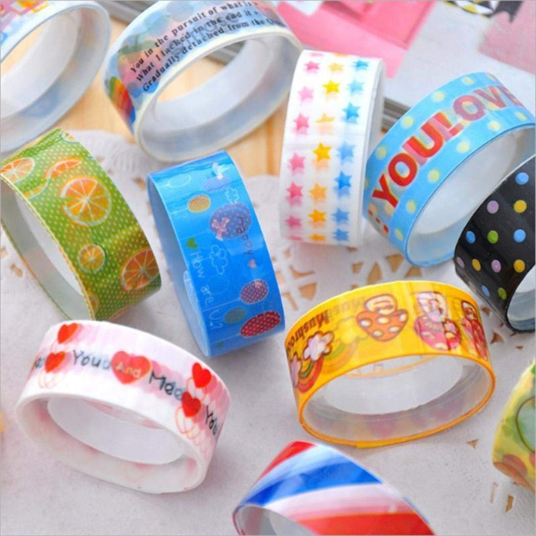 kirken 10pcs DIY Cartoon Tape Set Adhesive Scrapbooking Sticker for Scrapbooking Party Supplies Arts Crafts Decoration