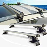 """Beamtop 48"""" Aluminum Universal Car Roof Rack Cross Bars With T-Bolt Slot Carrying Luggage Bike Cargo Box Paddle Board Ski Perfect for Family Camping Trip, 2 Set"""