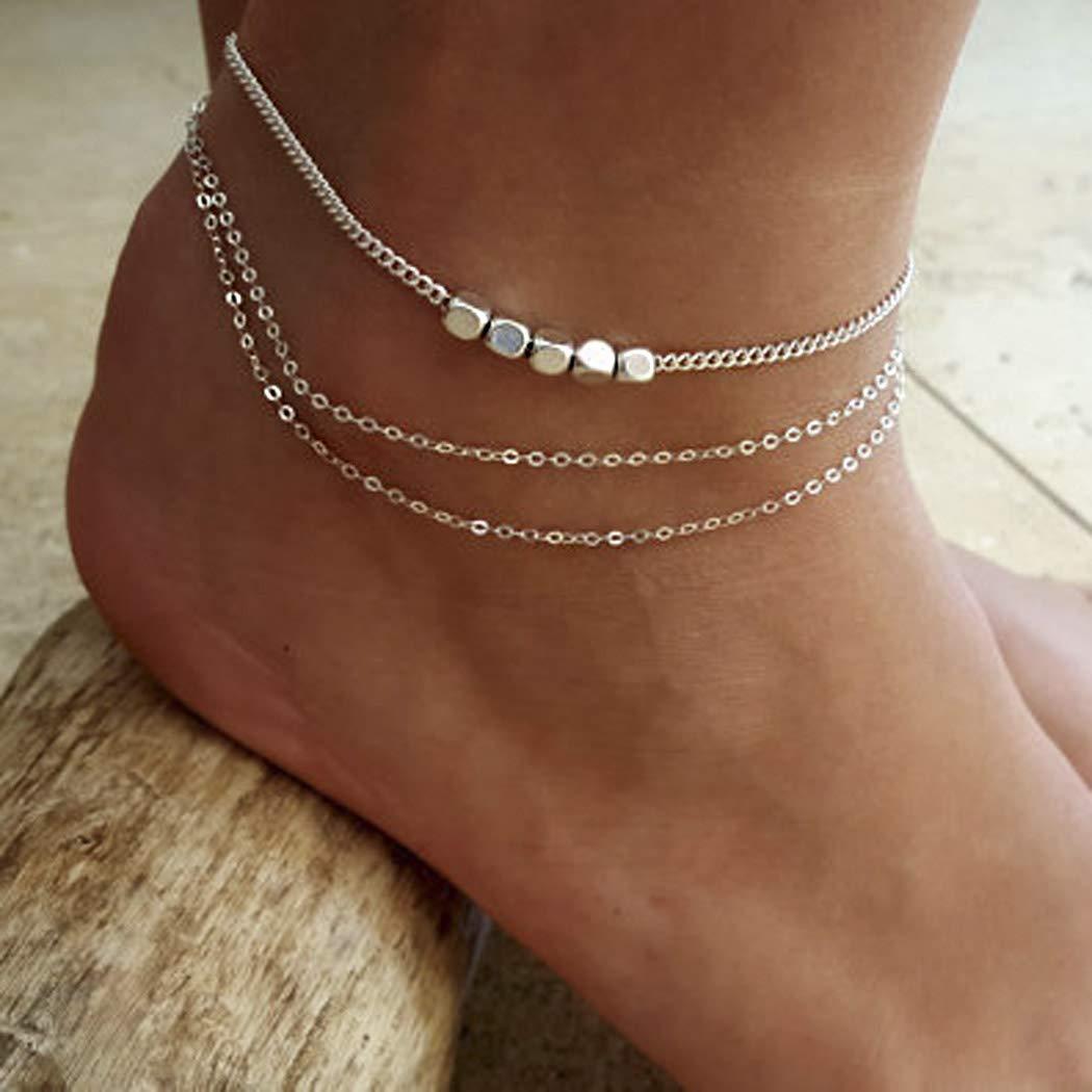 Cha/îne de pied simple de bracelet de cheville dargent de cheville dargent de Yean pour des femmes et des filles