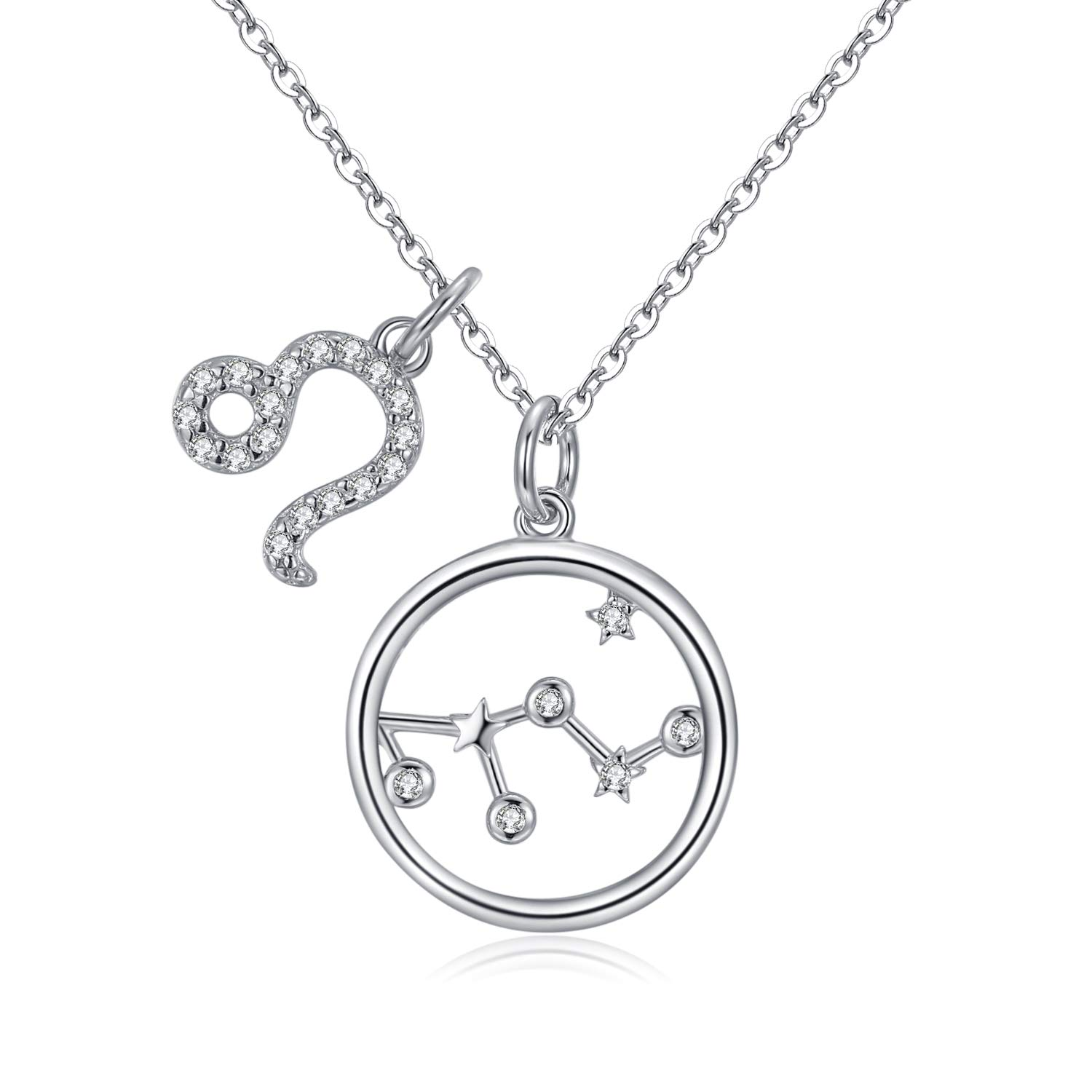 Qings 925 Sterling Silver Zodiac Pendant Necklace Star Cubic Zirconia 12 Constellation Horoscope Dainty Necklaces for Women Girls
