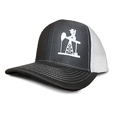81542a38 Image Unavailable. Image not available for. Color: Oil Field Hats Slate/White  PJ Cowboy Mesh Back Cap ...