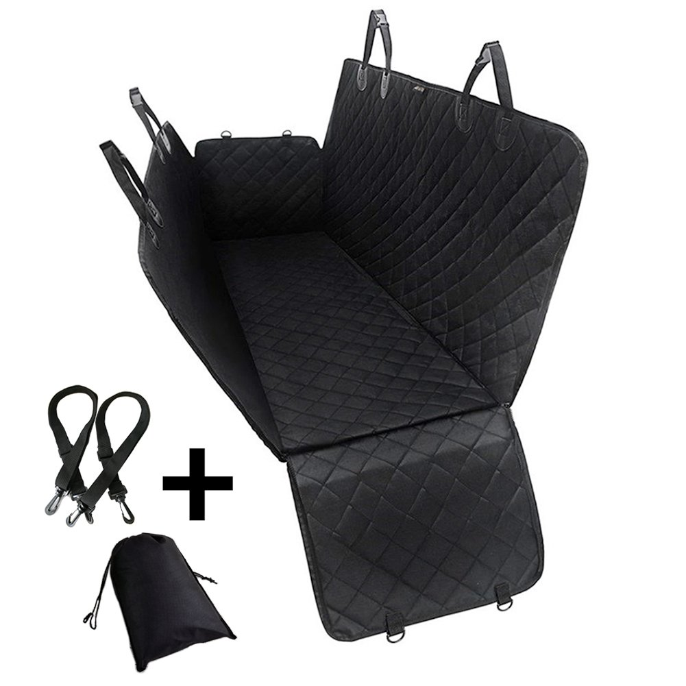 Black UMEXUS Dog Seat Cover Car Seat Cover for Pet with Anchors Waterproof Scratch Proof Nonslip Durable Soft Hammock Pet Seat Covers for Cars Trucks SUVs (Black) (Black)