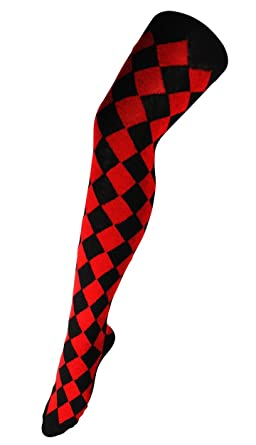 314d061ad24b7 Womens Over The Knee Thigh High Argyle Diamond Long Socks Harlequin (UK  4-7) in Black and Red: Amazon.co.uk: Clothing