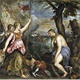 Canvas Prints Of Oil Painting ' Titian [Vecellio Di Gregorio Tiziano] Religion Saved By Spain 1572 75 ' , 12 x 12 inch / 30 x 31 cm , Polyster Canvas Is For Gifts And Bar, Garage And Gym Decoration