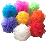 Bath Sponges, Small Size Colorful Shower Sponges Exfoliating Mesh Pouf Bath Ball Back Scrubber for Kids Pack of 8