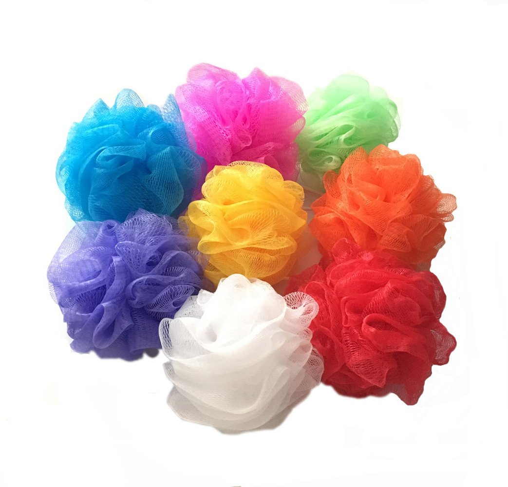 Bath Sponges, Small Size Colorful Shower Sponges Exfoliating Mesh Pouf Bath Ball Back Scrubber for Kids Pack of 8 Sunrise World