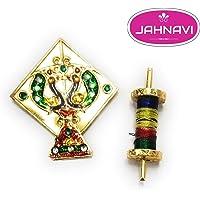Jahnavi™ Ladoo Gopal Ji Toy Kite/Patang Charkhi Golden & Diamond for Krishna Idol (Laddu Gopal Dress Toys)