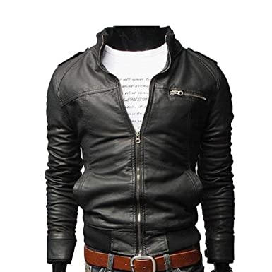 d87cca26b188 Image Unavailable. Image not available for. Color  Baguet Men Classic Motorcycle  Leather Jacket ...
