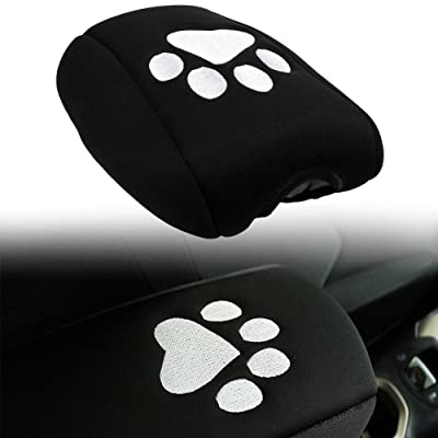 E-cowlboy Neoprene Center Console Armrest Pad Cover Black Dog Paw Print Protector Cushion fit for Jeep 2011-2018 Grand Cherokee