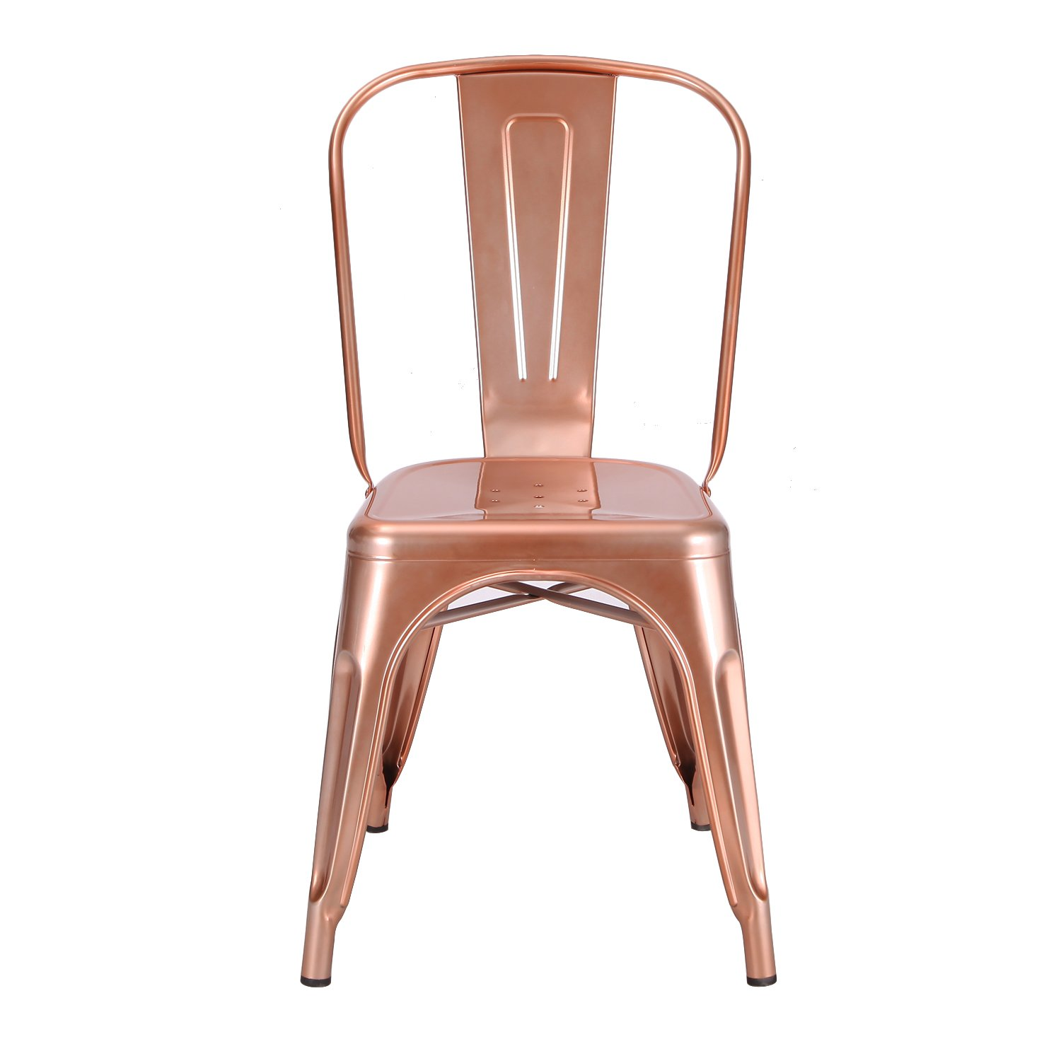 Adeco metal stackable industrial chic dining bistro cafe side chairs - Amazon Com Adeco Metal Stackable Industrial Chic Dining Bistro Cafe Side Chairs Glossy Rose Gold Set Of 2 Chairs