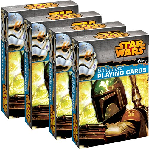Star Wars Playing Cards (4 Pack) Boba Fett Themed Deck Set, for Kids, Fun Party Favor, 52 Dard Deck