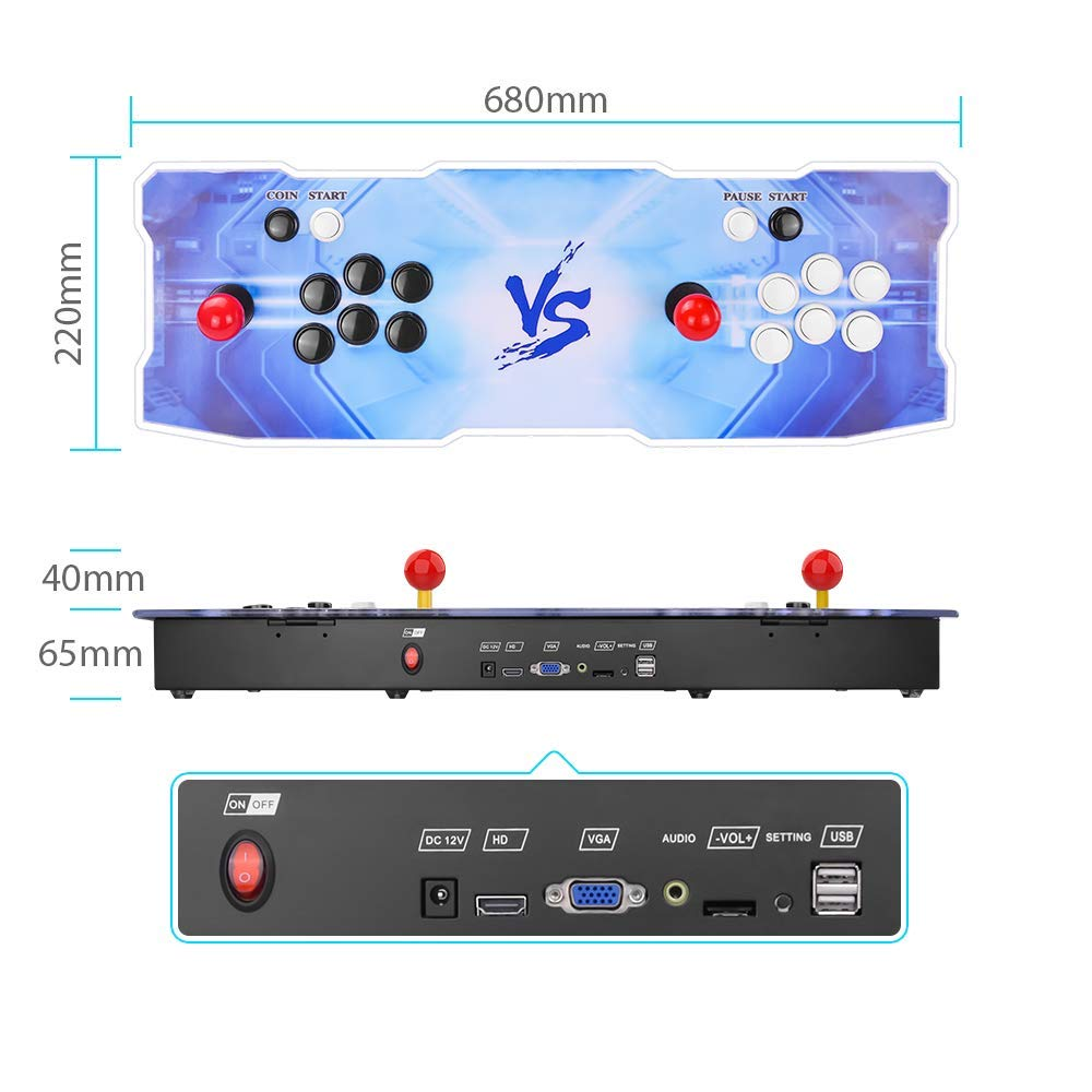 Pandora's Box 9 Multiplayer Joystick and Buttons Arcade Console, TAPDRA Arcade Games Machines for home, 1500 Retro Classic Video Games All in One, Newest System with Advanced CPU, Compatible with HDMI by TAPDRA (Image #4)