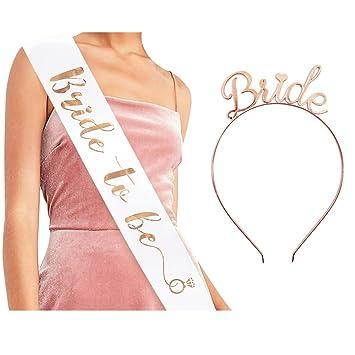 684d37a5fce Bride to Be Sash   Headband Tiara Set - Accessories for Bachelorette Party Bridal  Shower Hen