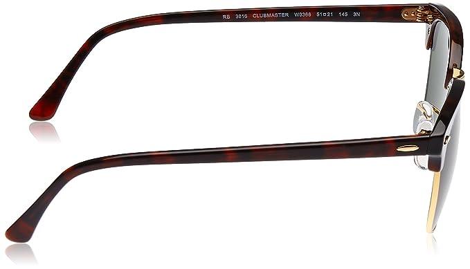 74b3b28b4e Ray-Ban, Clubmaster anteojos de sol, no polarizados, marco de acetato,  lentes de vidrio, Mock Tortoise/Arista marco, lentes de vidrio verde G-15,  ...
