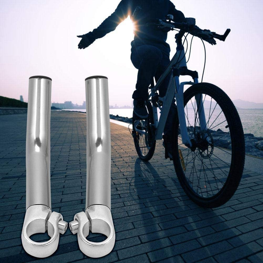 KSTE 1 Pair Aluminum Alloy Mountain?Bike Road Bicycle Handlebar Bar End Silver