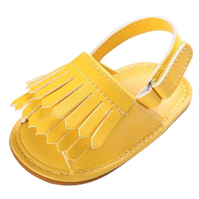 Zapatos de Verano para Bebé 💋💝 Yesmile Zapatillas de Cuna para Niña Pequeña Sandalias Bucle de Gancho con Borla Zapatos de Suela Suave Suela ...